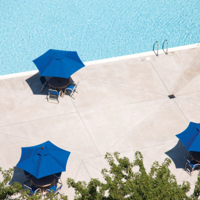 aerial view of westchester tower apartments pool